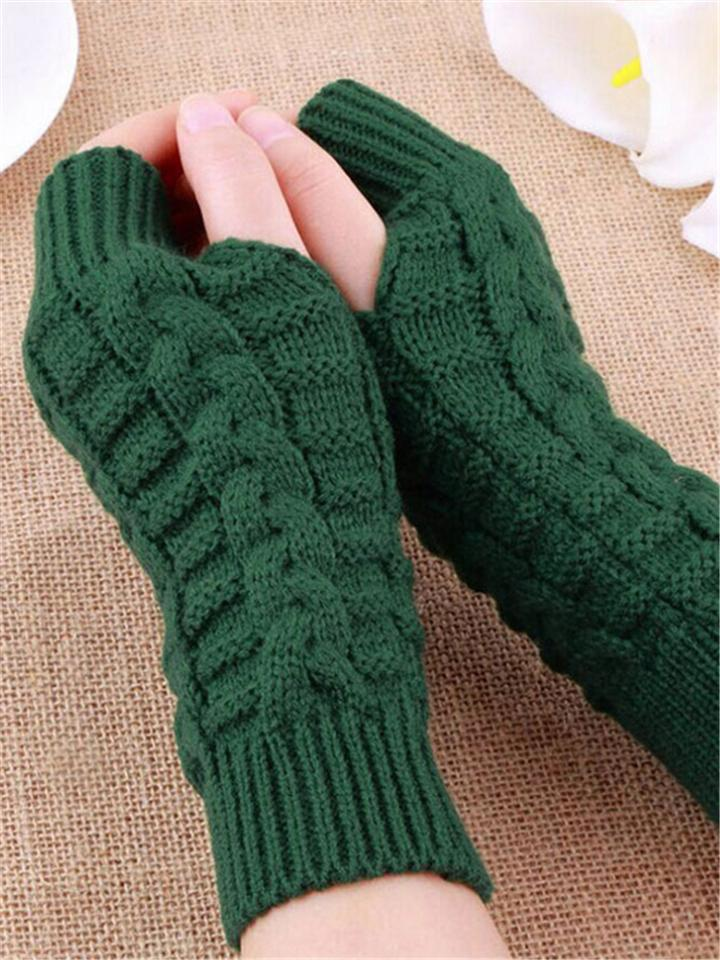 Women's Hand Warmer Winter Knitting Jacquard Fingerless Gloves