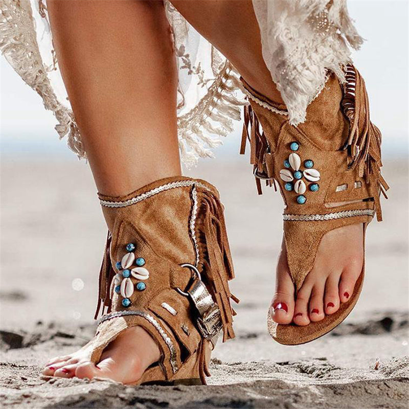 Bohemian Suede Tassel Clip Toe Flat Sandals For Women