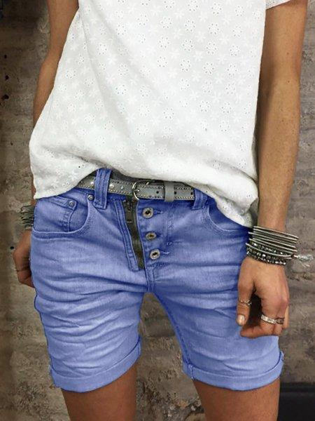 Button Down Zipper Shorts