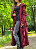 Women's Fashion Hooded Knitted Long Outerwear