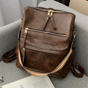 High-Quality Delicate Golden Hardware Dual Top Zipper Shoulder Strap Backpack