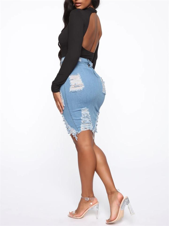Package Hip Denim Ripped Skirt