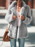 Women Teddy Bear Coats Light Fleece Cozy Vintage Sherpa Coat