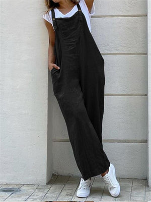 Women's Loose Fit Square Neck Strappy Solid Color Pocket Overalls