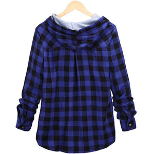 Plus Size Long Sleeve Hooded Plaid Shirt Coat For Women