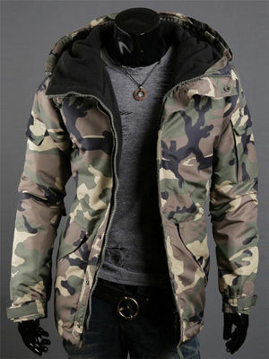 Fashion Camouflage Hooded Long Sleeve Jacket Coat For Men