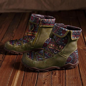 Bohemian Comfy Splicing Jacquard Lace Up Zipper Flat Ankle Boots