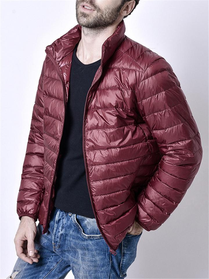 Mens Lightweight Stand Collar Down Outerwear For Winter