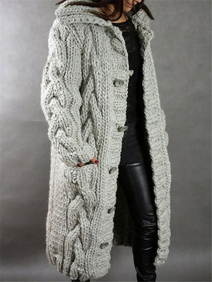 Women's Fashion Warm Cardigan Long Sweater Outerwear