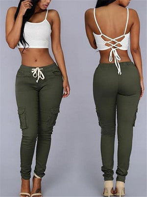 Multiple Pockets Drawstring Lace-up Sexy Pants For Women