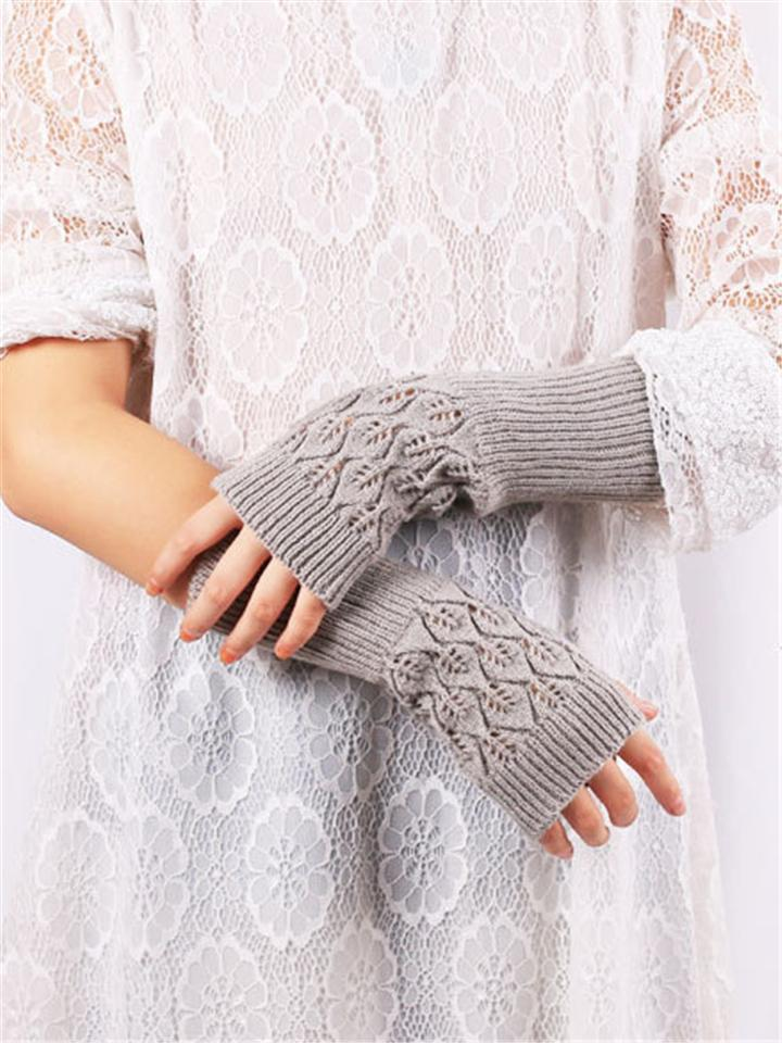 Women's Warm Knitting Jacquard Fingerless Breathable Gloves