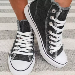 Denim High-Cut Lace-Up Flat Canvas Sneakers For Women