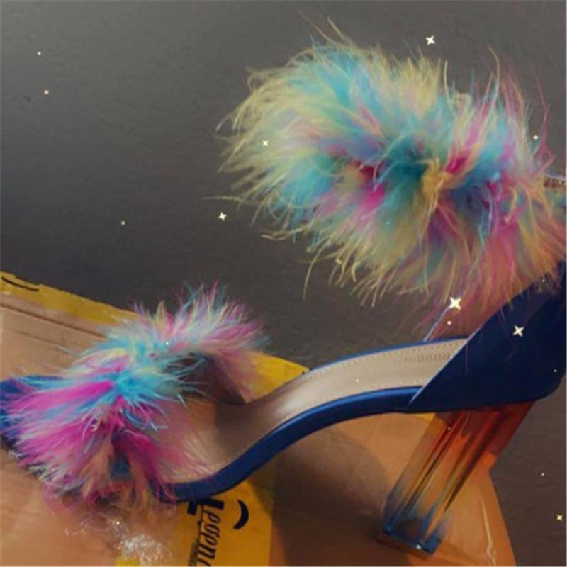 Fashion Colorful Faux Fur High Heels Sandals