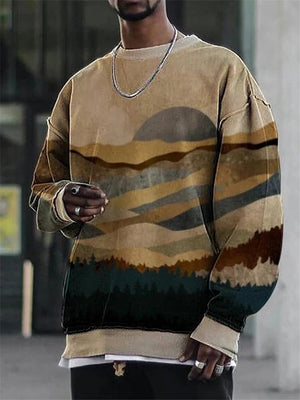 Men's Loose Fit Landscape Printed Round Neck Pullover Sweatshirt