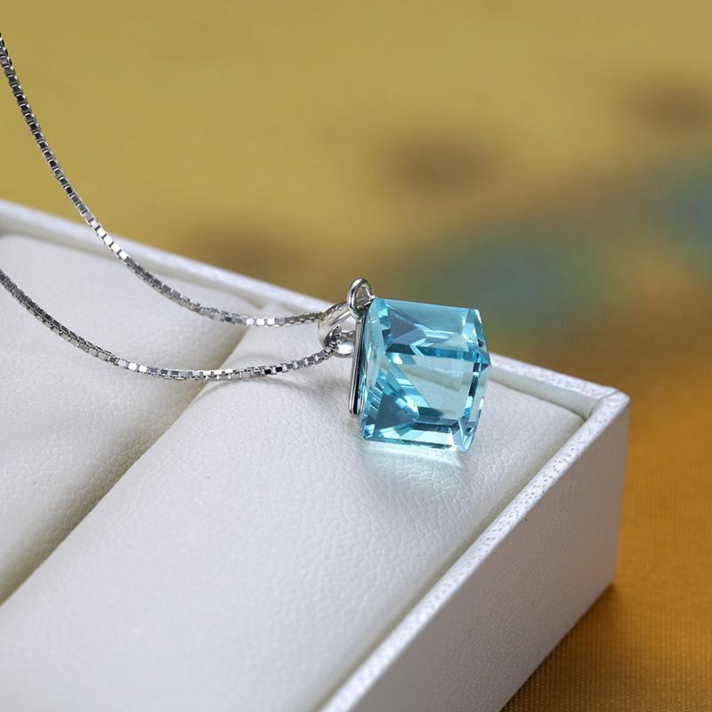 Sterling 925 Silver Necklace With High Quality Cubic Crystal Pendant