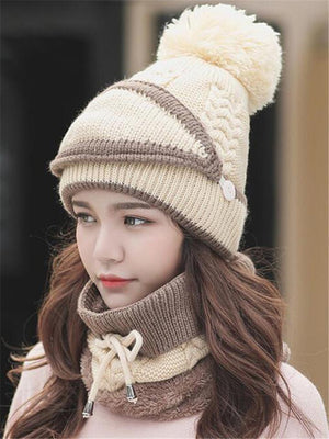 Winter Outdoor Ski Windproof Knit Beanies Mask Scarf Set