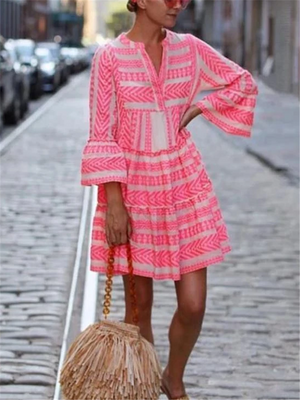 Fashionable V Neck Geometric Pattern Flare Sleeve Pleated A-Lined Dress