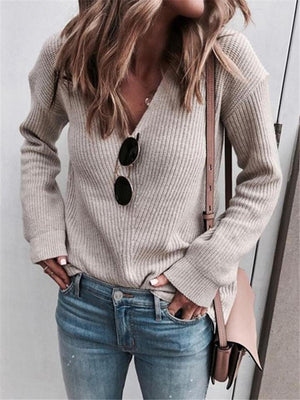 Relaxed Fit V Neck Ribbed Knit Long Sleeve Pullover Sweater