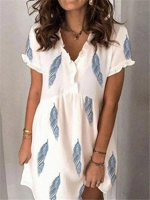 Stylish V Neck Ruffled Design Short Sleeve Feather Printed Flare Dress
