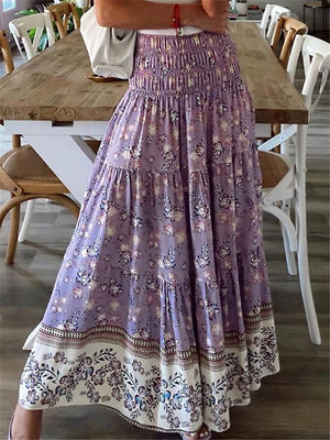 Pretty High-Waist Floral Pattern Pleated Maxi Skirt