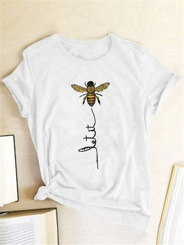 Bee Print Short Sleeve Casual T-shirt For Women