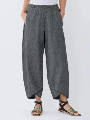 Women Casual Summer Pockets Striped Capri Linen Pants