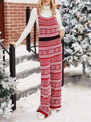 Cute Christmas Snowflake Print Knitting Overalls Jumpsuit