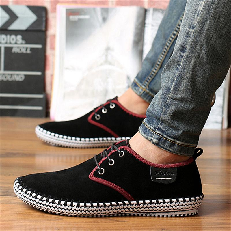 Men's Super Comfy Suede Sewing Soft Sole Lace-Up Casual Shoes