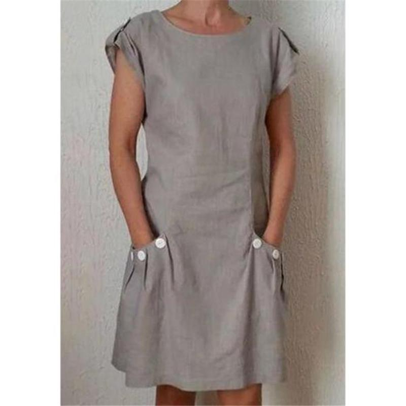 Summer Pockets Buttoned-decor Shift Linen Plus Size Dresses