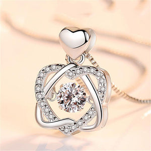 Dazzling Heart Twist Silver Necklace Pendant for Anniversary Gift