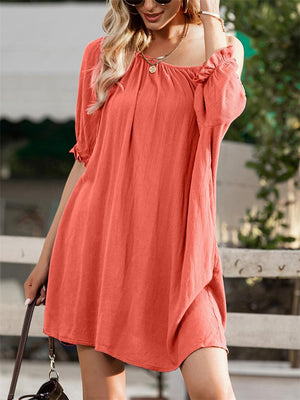Fashionable Solid Color Off Shoulder Half Sleeve Midi Dress