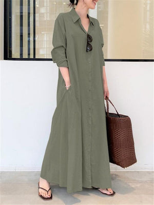 Minimalist Lapel Collar Long Sleeve Pocket Maxi Shirt Dress