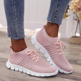 Solid Color Mesh Breathable Lace-Up Sneakers For Women