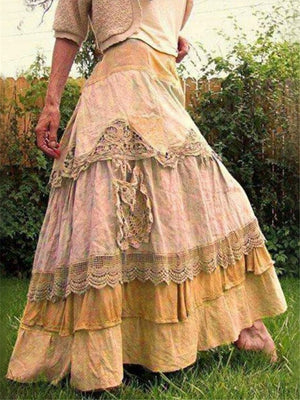 Vintage Patchwork Lace Cake Long Skirt