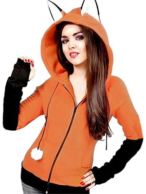 Adorable Fox Ear Thumbhole Sleeve Drawstring Hooded Full Zipper Sweatshirt