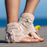 Bohemian Suede Tassel Beach Clip Toe Flat Sandals Gladiator Shoes For Women