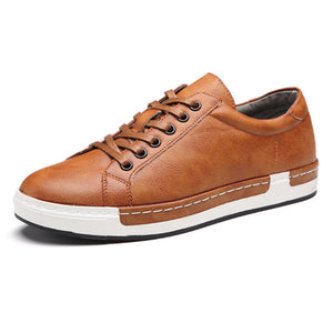 Mens Fashion Leather Lace-up Flat Casual Shoes