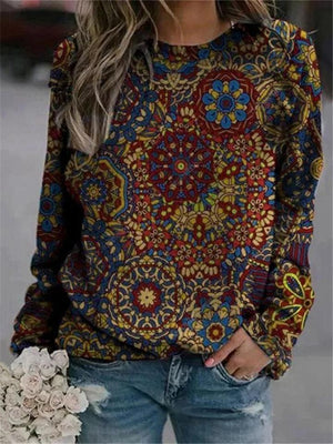 Casual Style Round Neck Long Sleeve Floral Printed Pullover Sweatshirt