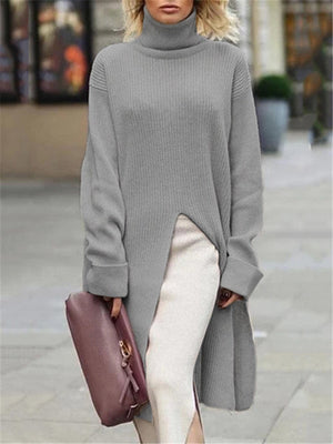 Women's High Collar Knit Sweaters Sexy Slit Tops