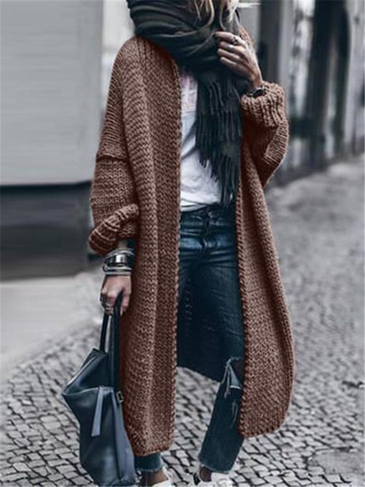 Extra Comfortable Open Front Woolen Long Knit Sweater Coat