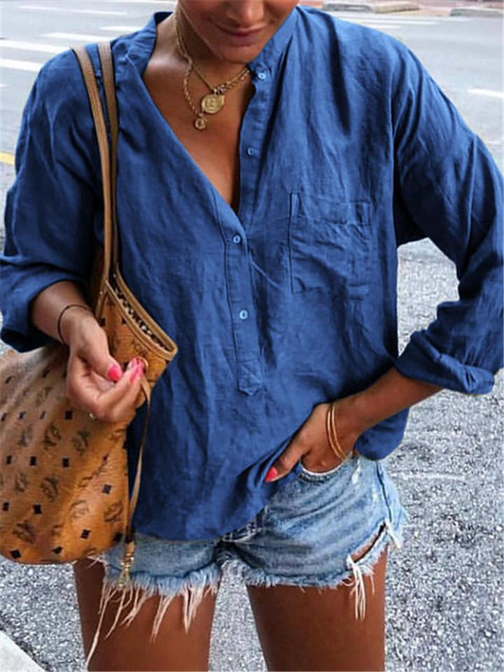 Casual Pockets Stand Collar Buttoned Blouses