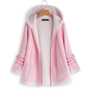 Fashion Warm Long Sleeve Hooded Zipper Pocket Coat