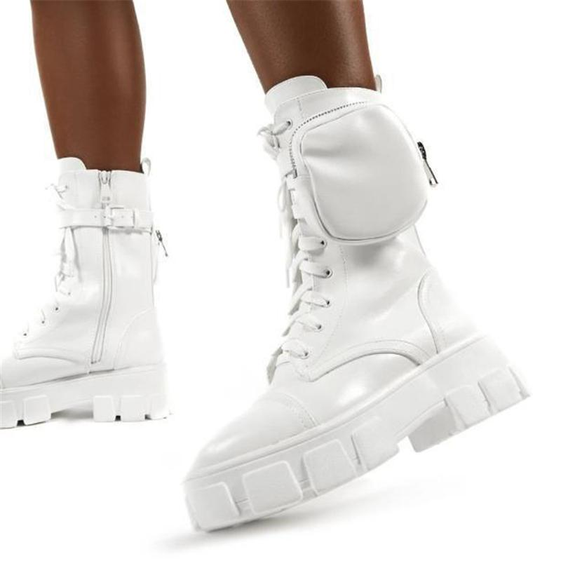 Cool Chunky Sole Lace-up Pouch Combat Boots