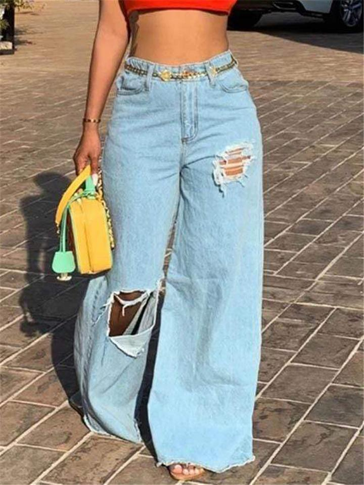 Front Ripped Frayed Hem Wide Leg Denim Trousers