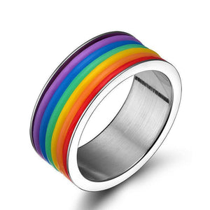 Unisex Stainless Steel Rainbow Ring