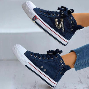 Lightweight Comfy Lace-up High-Top Canvas Shoes