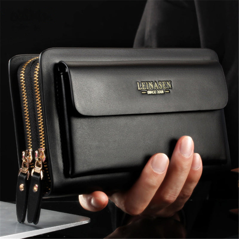 Men's Casual Business Waterproof Leather Large-Capacity Handbags