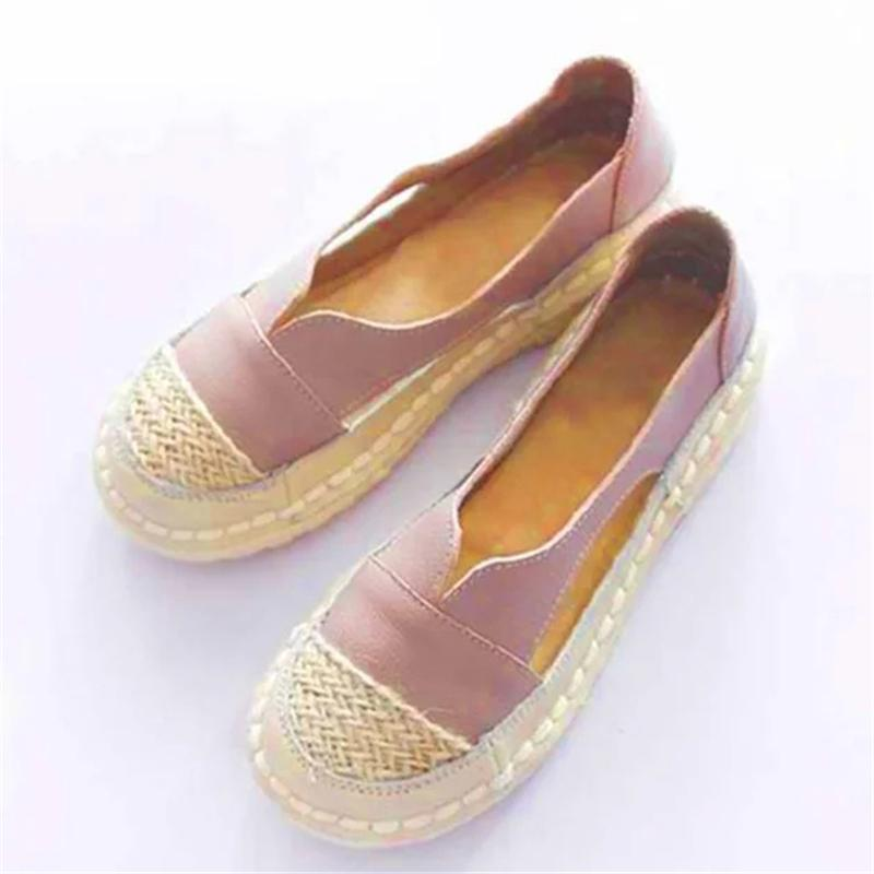 Leather Flats Platform Loafers Casual Shoes For Women
