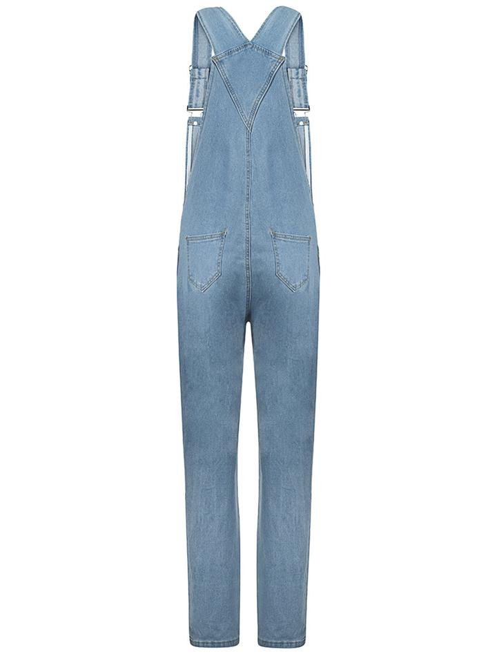 Light Blue Denim Jumpsuits