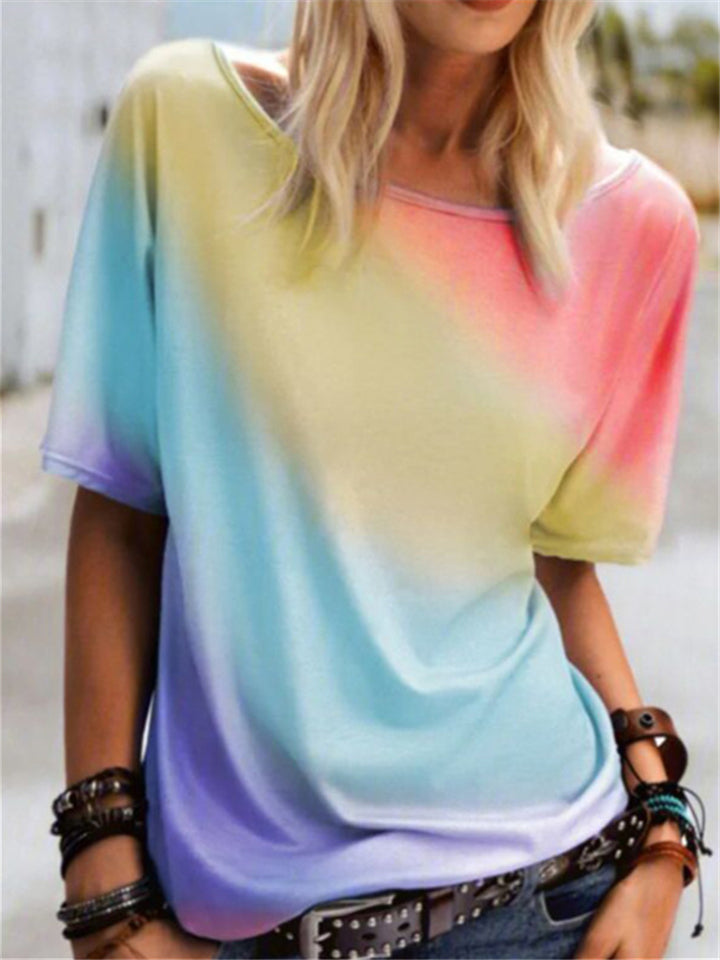 On Trendy Scoop Neck Loose Style Multi-Color Tie-Dye Print T-Shirt